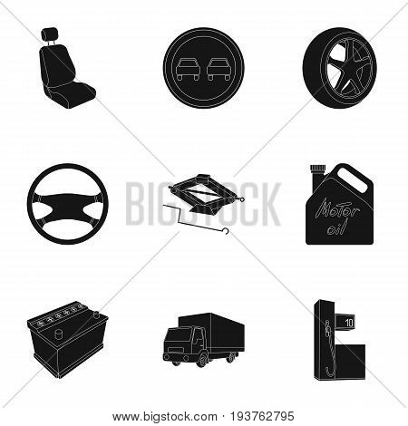 Wheel, wrench, jack and other equipment. Car set collection icons in black style vector symbol stock illustration .