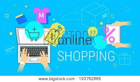 Online shopping on laptop concept vector illustration. Human hands typing on laptop and tablet keyboard for ordering and buying goods with promo price and discounts. Creative e-commerce blue banner