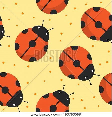 Whimsical seamless pattern on heat background with gentle ladybug. Vector hand drawn illustration.
