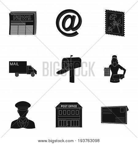 Postman, envelope, mail box and other attributes of postal service.Mail and postman set collection icons in black style vector symbol stock illustration .