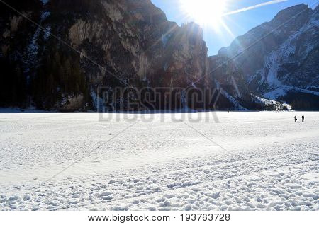 Winter Scenery Of Frozen Lake Braies At Dolomites Alps, Italy