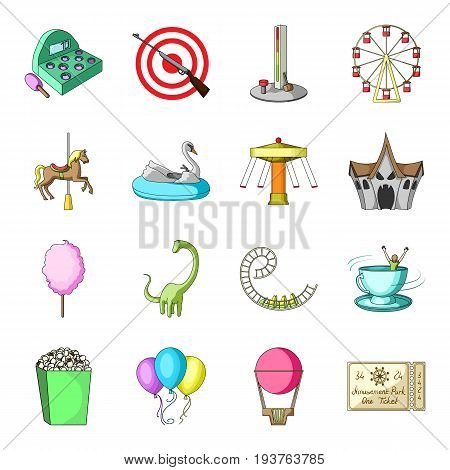Carousel, shooting range, slides, cotton wool and other attributes.Amusement Park set collection icons in cartoon style vector symbol stock illustration .