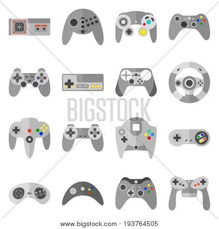 Different game controllers. Vector illustrations set of computer joy sticks. Collection of joystick for game controller console