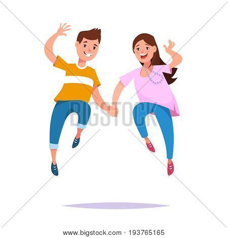 Happy young couple guy and his girlfriend running hand in hand isolated. Concept friendship relationship and love story in cartoon style.