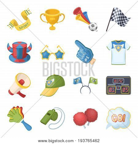 Ball, Dudko, cap, flag, Megaphone and other accessories. Fans set collection icons in cartoon style vector symbol stock illustration .