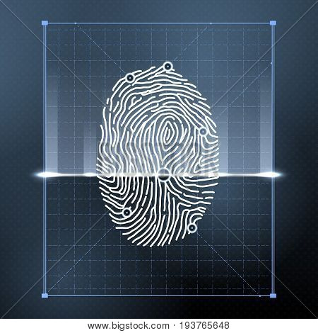 Fingerprint biometric scan for personal verification. Security vector background illustration. Verification person with fingerprint, identification finger