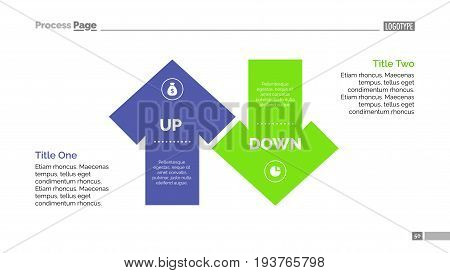 Up and down arrow diagram. Element of presentation, chart, diagram. Creative concept for infographics, business templates, reports. Can be used for topics like marketing analysis, strategy, planning