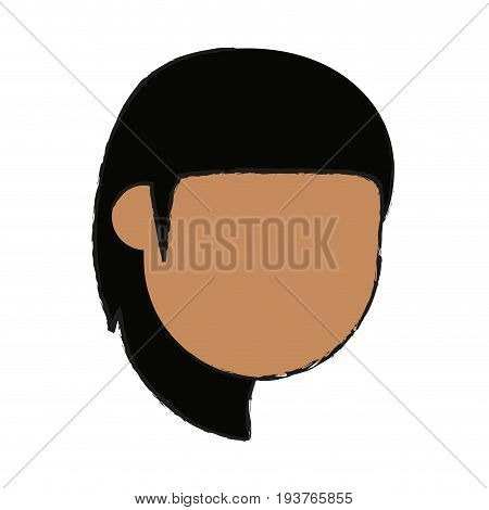 faceless woman with long layered hair with bangs avatar icon image vector illustration design