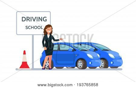 Vector illustration of smiling young woman business suit standing near driving school car isolated in flat style. Design concept drivers education.