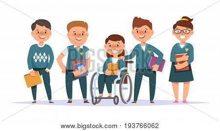 Vector illustration icon group elementary school boy and girl in blue school uniform with textbook in hand isolated white background . Cartoon style