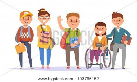 Vector illustration icon group elementary school boy and girl colorful clothes with textbook and backpack isolated white background. Cartoon style