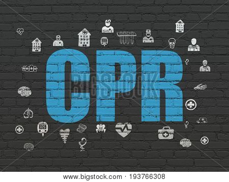 Healthcare concept: Painted blue text CPR on Black Brick wall background with  Hand Drawn Medicine Icons