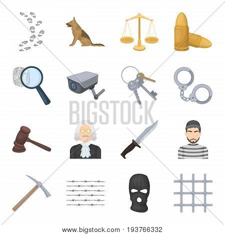 Camcorder, handcuffs, lattice attributes of the prison.Prison set collection icons in cartoon style vector symbol stock illustration .