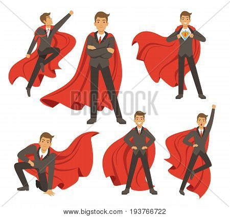 Powerful businessman in different action superhero poses. Vector illustrations in cartoon style. Power male in costume superhero, businessman standing