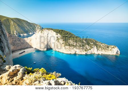 Famous Navajio beach on the island of Zakynthos Greece. Mediterranean sea.