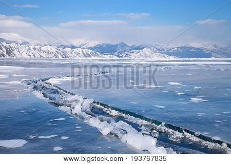 Dangerous long crack in the ice of lake Baikal