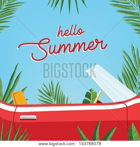 Hello summer poster. Trendy banner presenting summer season with classic retro car and palm leaves against blue sky. Colorful vector illustration