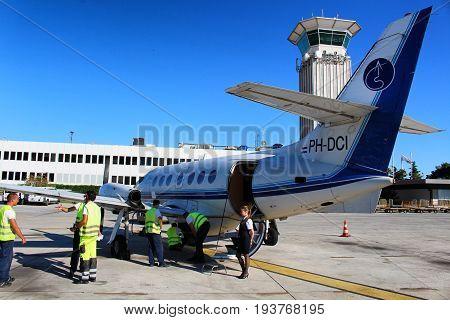 SPLIT/CROATIA - 29 JUNE 2017: A British Aerospace Jetstream 32 by Trade Air ready to operate a flight for croatian national carrier Croatia Airlines to Rijeka airport
