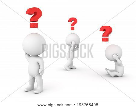 3D Illustration Of Three Characters Feeling Confused