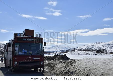 StrimasundSweden - May 13 2017: This is a buss with food standing at the Swedish Norway border every day because the differ in food prices between Sweden and Norway.