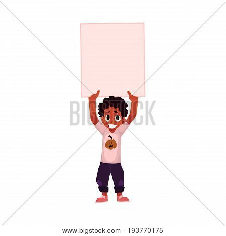 Little black, African American boy, child, kid holding blank empty poster over head, cartoon vector illustration isolated on white background. Little black boy holding empty, blank poster over head