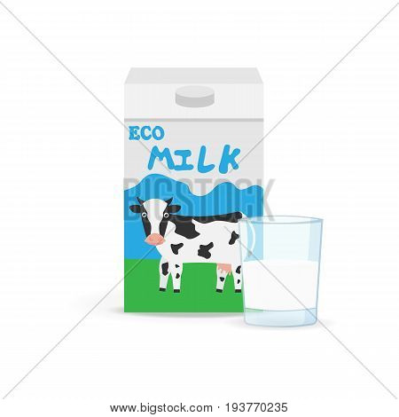 Milk packing and a glass of milk isolated on a white background. Vector illustration. Eps 10 Cow milk carton and milk cup. Glass of milk with gable top package close up.