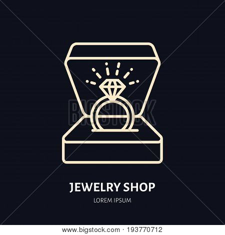 Shining brilliant ring in gift box illustration. Jewelry flat line icon, jewellery store logo. Jewels engagement accessories sign.