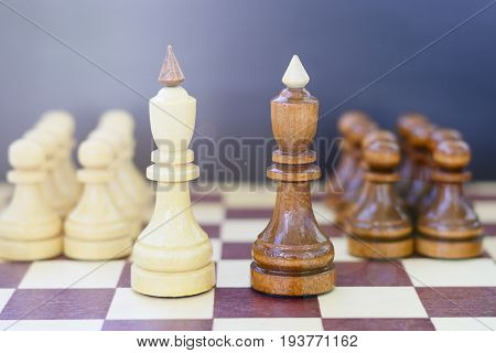 Concept Of Leadership, Success, Motivation. Chess Pieces On The Board.