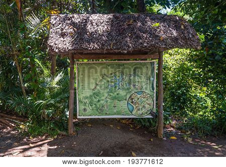 Ivoloina Madagascar - December 22 2015: A map of Parc Ivoloina. Parc Ivoloina is a recreational and educational zoological park home to lemurs reptiles amphibians and other native Malagasy species near the city of Toamasina Madagascar.
