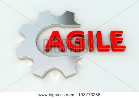 AGILE gear wheal white background 3d illustration