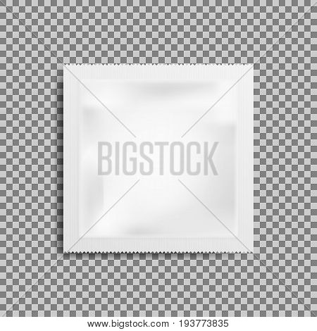 Realistic White Blank template Packaging Foil wet wipes. Food Packing Coffee Salt Sugar Pepper Spices Sweets. isolated on transparent background. Vector illustration. Eps 10.