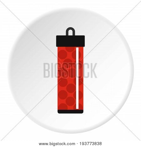 Red pack with paintball bullets icon in flat circle isolated vector illustration for web