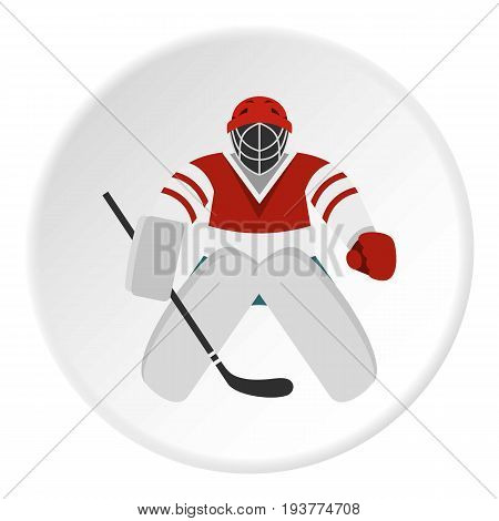 Hockey goalkeeper icon in flat circle isolated vector illustration for web