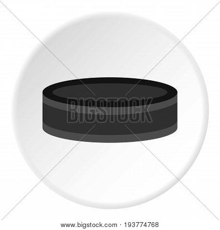 Hockey puck icon in flat circle isolated vector illustration for web