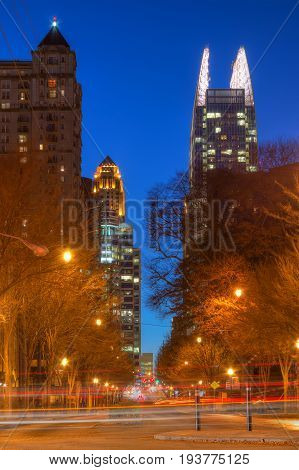 Night view of skyscrapers on the 14th Street in the Midtown Atlanta USA