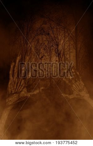 Hands of evil in haunted forest,3d illustration,Horror concept background