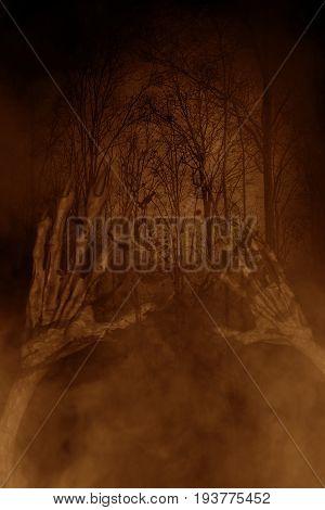 Hands of evil in haunted forest,3d illustration,Horror concept background
