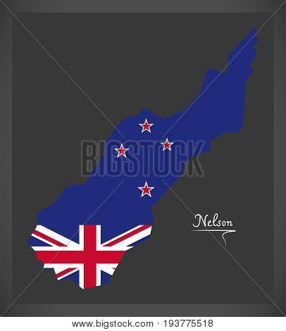 Nelson New Zealand Map With National Flag Illustration