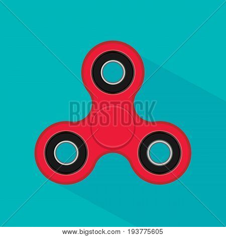 Fidget finger spinner stress anxiety relief toy. Hand spinner icon isolated on white background. Vector illustration. Eps 10