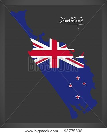 Northland New Zealand Map With National Flag Illustration