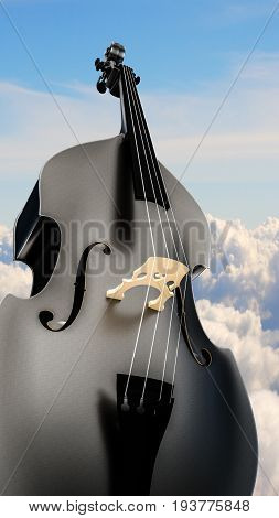 3d illustration of a contrabass with a sky background