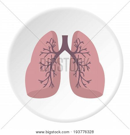 Lungs icon in flat circle isolated vector illustration for web
