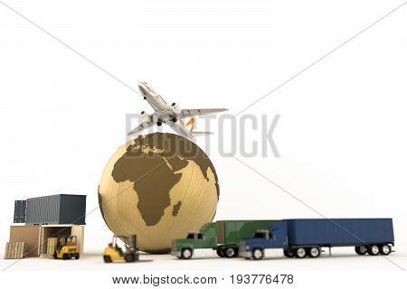 3d illustration of the transportation world system