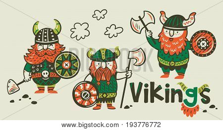 Cartoon set of three vikings in armor, helmets and with axes