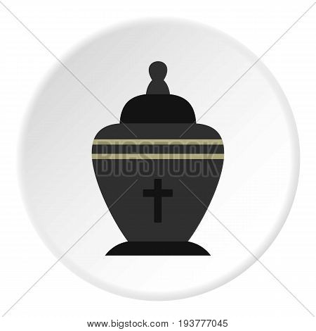 Urn icon in flat circle isolated vector illustration for web