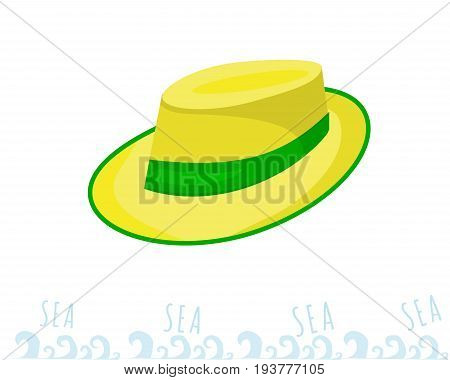A man straw straw hat with a green ribbon. Yellow headdress. sammer