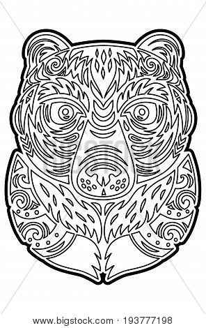 Hawaiian tiki totem bear mask. Coloring page. Vector art