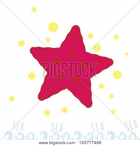Red starfish with a pattern. Bright illustration. Sea and ocean dweller. sammertime