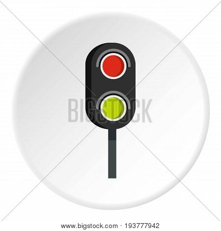 Semaphore trafficlight icon in flat circle isolated vector illustration for web
