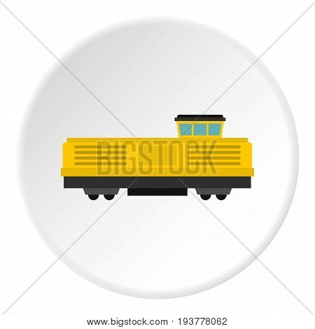 Freight train icon in flat circle isolated vector illustration for web